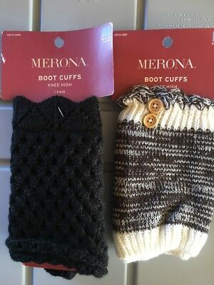 NEW 2 Pairs Women Boot Cuffs Knee High One Size