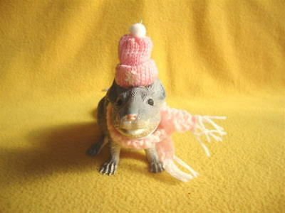 Pink Knitted Winter Cap and Scarf for Rat from Petrats