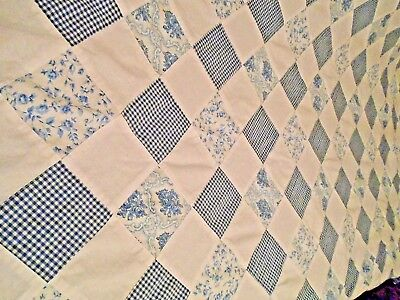 Vintage Hand Made Cotton Patchwork  Quilt Topper ~Twin 59 X 82