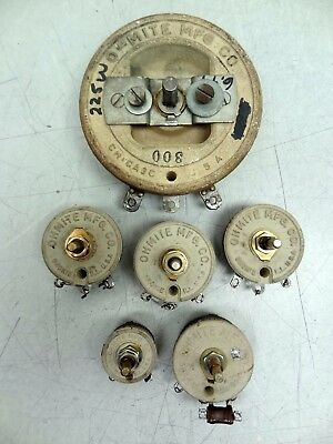 Lot of 6 Assorted Ohmite Rheostat Wirewound Potentiometers Models: P , J ,& H