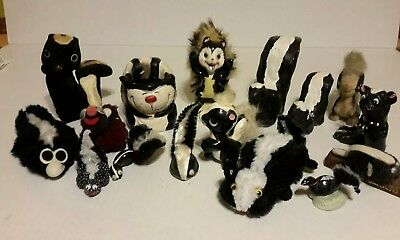 (16) Vintage SKUNK COLLECTION - Handcrafted Folk Art Velvet Ceramic Shells...