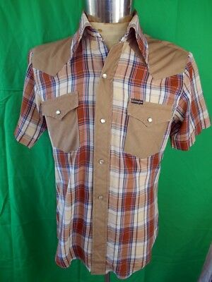Vintage 70s Brown Plaid Poly/Cotton Short Sleeve Western Cowboy Shirt Snaps M