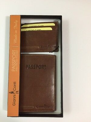 Gianni Conti Passport Holder with Front pocket Wallet Tan Brown Leather Set NEW