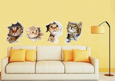 3D CUTE KITTENS - CATS Wall Art Stickers - glass, ceramics, metals etc UK SELLER