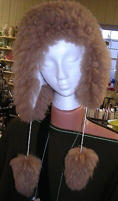 100% Natural Baby Alpaca Fur Hat Ear flap Pom Pom  ends light brown from Peru