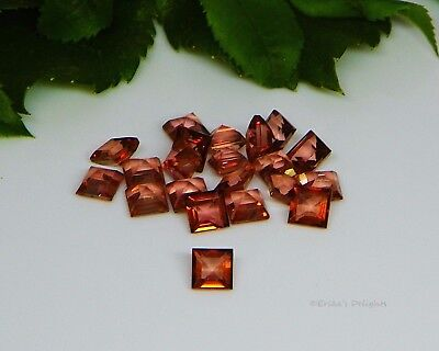 4mm Square Genuine Salmon Pink Topaz Faceted Gemstones VVS .45cts