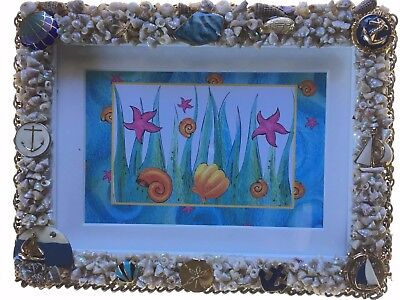 Handcrafted Beach Shell Sea Shore Themed Photo Frame 5x74x6