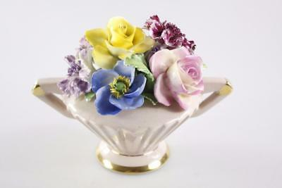 CROWN CHINA FLOWERS HAND PAINTED PORCELAIN BASKET w/ FLORAL ADORNMENTS
