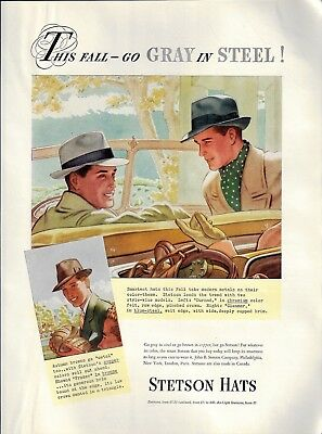 1936 Stetson Hats This Fall Go Gray in Steel Vintage AD