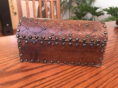 """Spanish Hand Tooled Leather Rivet Document Box Case Made in Spain 7 1/2"""" Antique"""