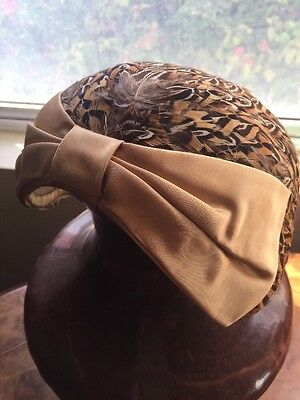 Stunning Old Vintage Cap, hat, fascinator? Feather Hat With Bow. Coleman Label
