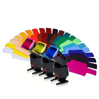 20pcs Flash Speedlite Color Gel Filters for Canon/Nikon/Konica/Yongnuo DSLR UK