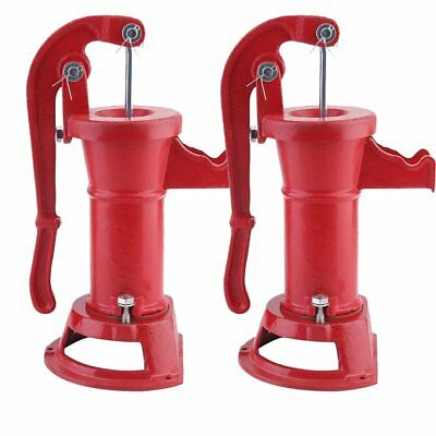 2X Outdoor Hand Water Pump Well Pitcher Cast Iron Press Suction Ponds Tool @MX