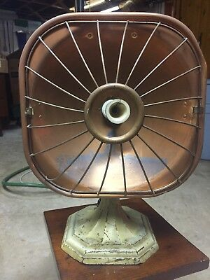 Antique 1930 L & H Electronics Model # 402 Electric Copper Heater Cast Iron Base