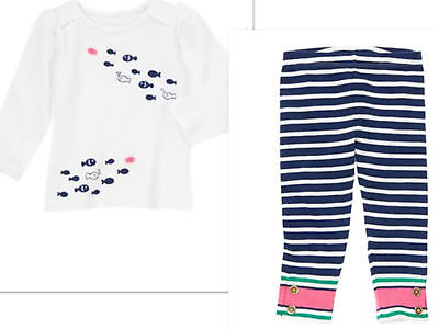 NEW GYMBOREE Girls  Stripes and Anchor Outfit CAPRIS AND TOP Size  5T