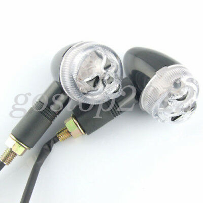 2x 12V Black Eyes Motorcycle Skull Turn Signal LED Indicator Blinker Amber Light