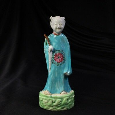 Chinese figure of an attendant, turquoise robe, 18th century