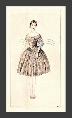 1960s vintage ORIGINAL signed TINTED ETCHING ink DRAWING retro Haute Couture EMK
