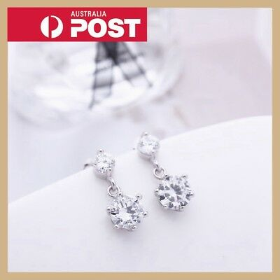 New 925 Silver Classic Vintage Crystal Lab Diamond Cutting Stud Earrings Gift