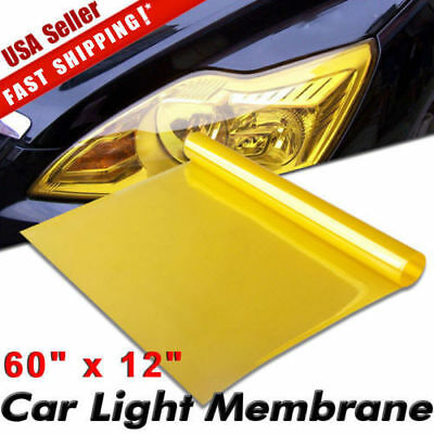 "Universal 12"" x 60"" Golden Yellow Headlight Tailight Fog light Tint Film Vinyl"