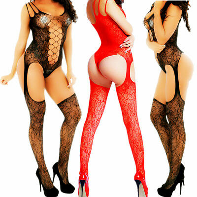 Flame Red Erotic Lacy Victorian Corset Style Body Suit with Thigh High Stocking