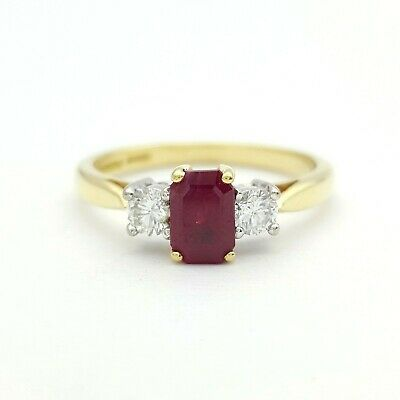 18ct (750, 18K) Yellow Gold Diamond and Ruby Ring