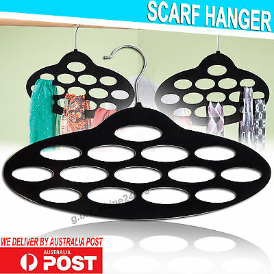 1x Black Velvet Scarf Tie Clothes Belt Hanger Hook Organiser Wardrobe Storage