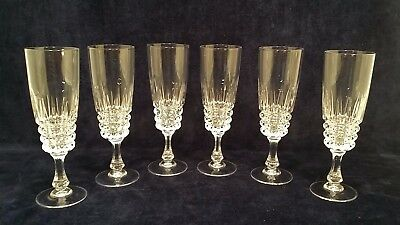 Set of 6 24% Leaded Crystal Champagne Flutes Cristal D'Arques-Durand Pompadour