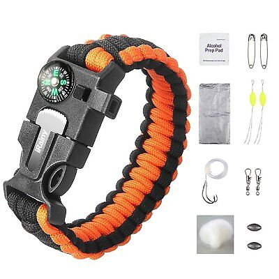 iRainy Paracord Bracelet W 16-Piece Survival Gear Kit Includes 11-Piece Fishing