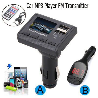 Car Music MP3 Player FM Transmitter Modulator Dual USB Charging SD Remote