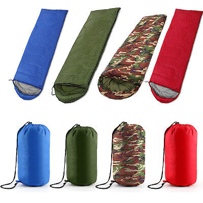 4 Season Sleeping Bag Waterproof Camping Hiking Suit Case Envelope Single Zip