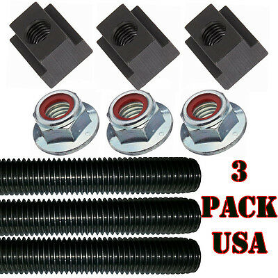 5/8''-11 Milling Table Full Thread T-Slot T-Nut Hold Down Set 3 Pack Made in USA