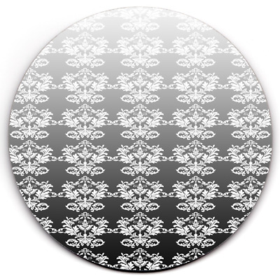 Set of 2 HD SuperClear Drink Coaster Damask Black Timber Y01168