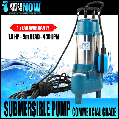 """TRANSFER OR SEPTIC SUBMERSIBLE PUMP 1.5HP 240 volt 450 l/min 2""""in/out Head 13.5m"""