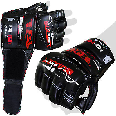 FOX-FIGHT Bullet12 MMA Box Handschuhe echtes Leder UFC BJJ Grappling Sparring