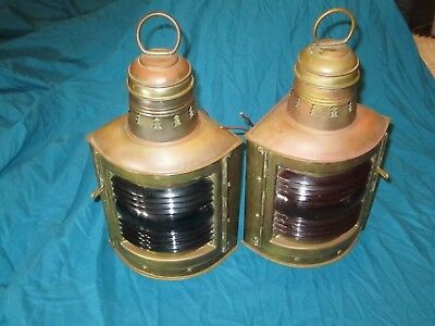 Pair Antique PERKO Nautical Marine Ship Lanterns Red & Green electric