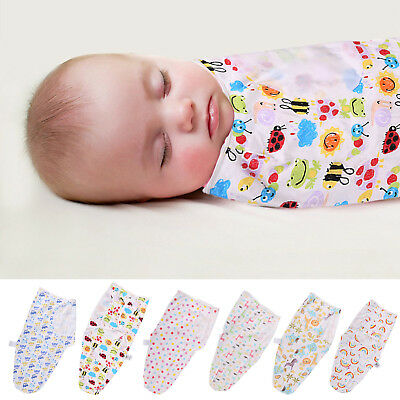 Baby Swaddle Wrap Blanket Sleeping Bag Easy Care For 0-6 Months100% Cotton Soft