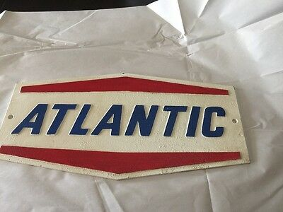 """17"""" x 9"""" CAST IRON """"ATLANTIC"""" OIL & GAS RED WHITE & BLUE CAST IRON SIGN"""