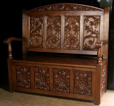 Gothic Carved Storage Bench Seat Solid Mahogany