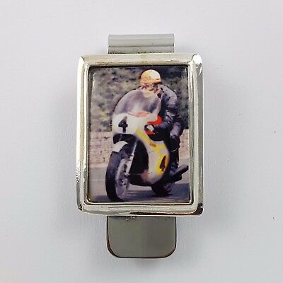 Enamel Vintage Style British Motor Cycle Money Clip 925 Solid Sterling Silver