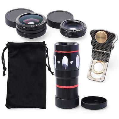 10X Zoom Telescope+Fisheye+Wide-Angle+Marco Lens Kit for iPhone X 8 7 7 Plus