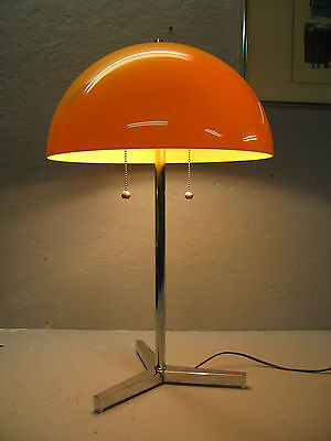 DANISH MODERN TABLE LAMP TORIM LITES LATE 60s CHROME BASE ACRYLIC SHADE- YELLOW