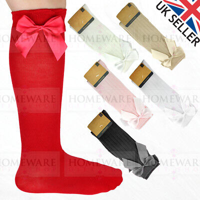 Girls Knee High Bow Socks Spanish Style Sizes 0-2-12-3 High Quality Designer New