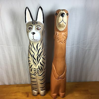 Tall Wood Carved Cat And Dog Statues Figures Art Home Decor
