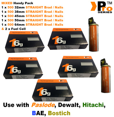32mm+38mm+45mm+50mm+64mm 16g STRAIGHT Nails 2500 nails + 2 x Fuel Cell for BAE