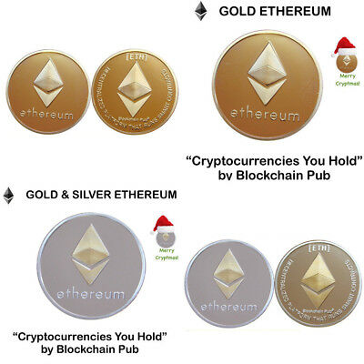 Gold Plated Iron Ethereum Collectible Commemorative Coin Physical Xmas Gift