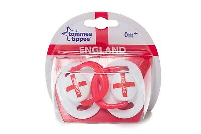 Infant Tommee Tippee 2 Pack Baby Soothers Dummies Dummy ENGLAND Flag Design 0m+