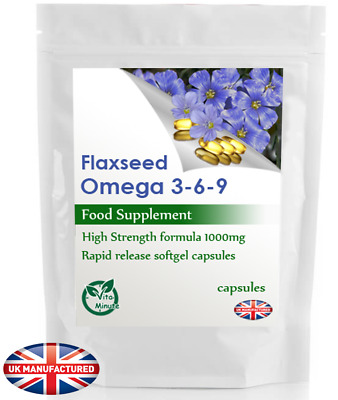 Flaxseed Oil High Potency Cold Pressed Organic 1000mg Capsules, Omega 3-6-9, UK