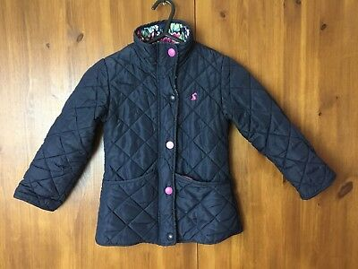 JOULES GIRLS WINTER COAT JACKET Navy Dark Blue Quilted Collared 5 Years - VGC