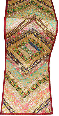 Ethnic Indian Patch Work Maroon Wall Tapestry Table Runner Throw Gujarati Design